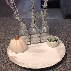 White and Gray Distressed Lazy Susan